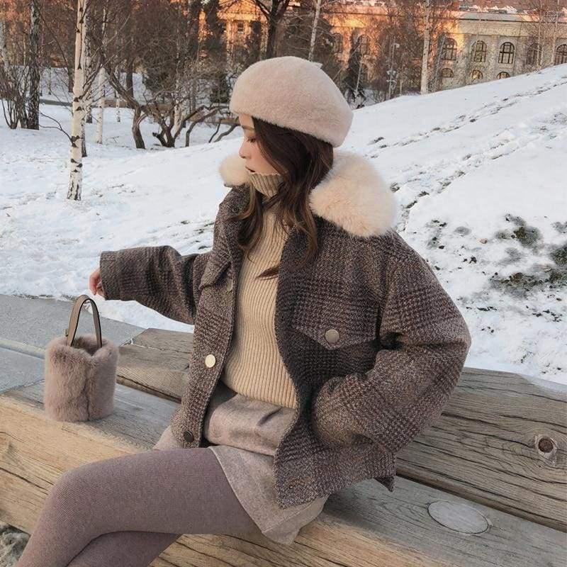 Plaid Cardigan Coat Women Just For You - Women Coat