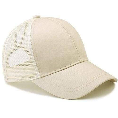 Ponytail Baseball Cap - beige - Baseball Caps