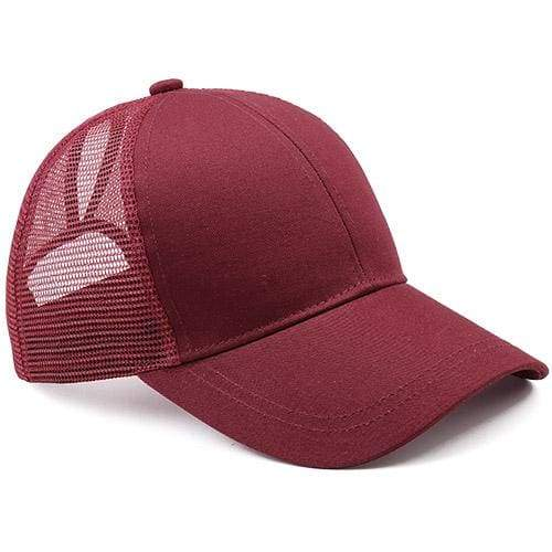 Ponytail Baseball Cap - wine red - Baseball Caps