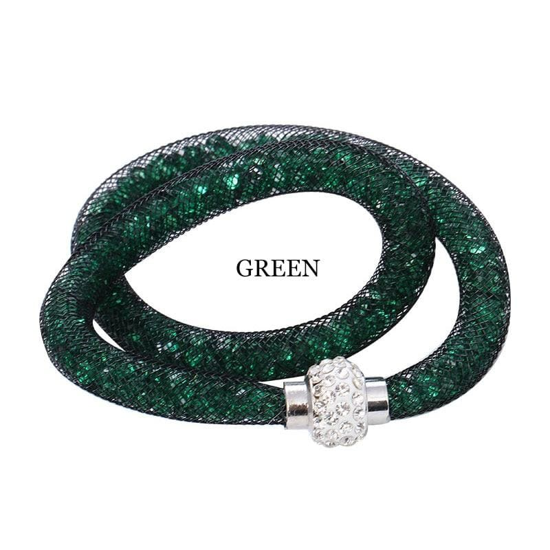 Rhinestone Double smart magnetic mesh Slimming Bangle - Bangles