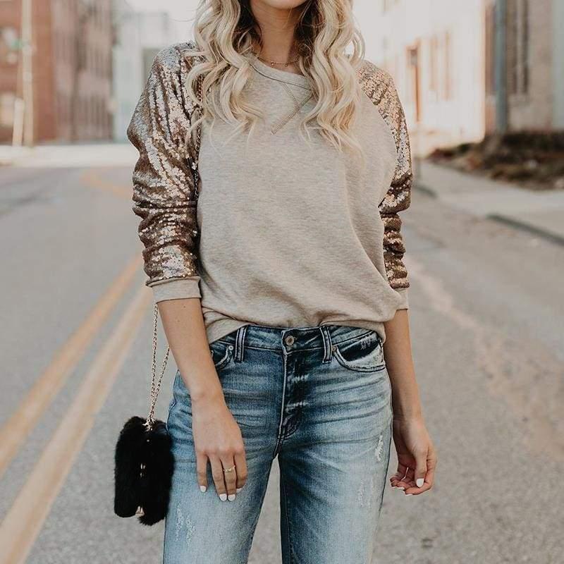Sequin long sleeve T-shirt - T-Shirts