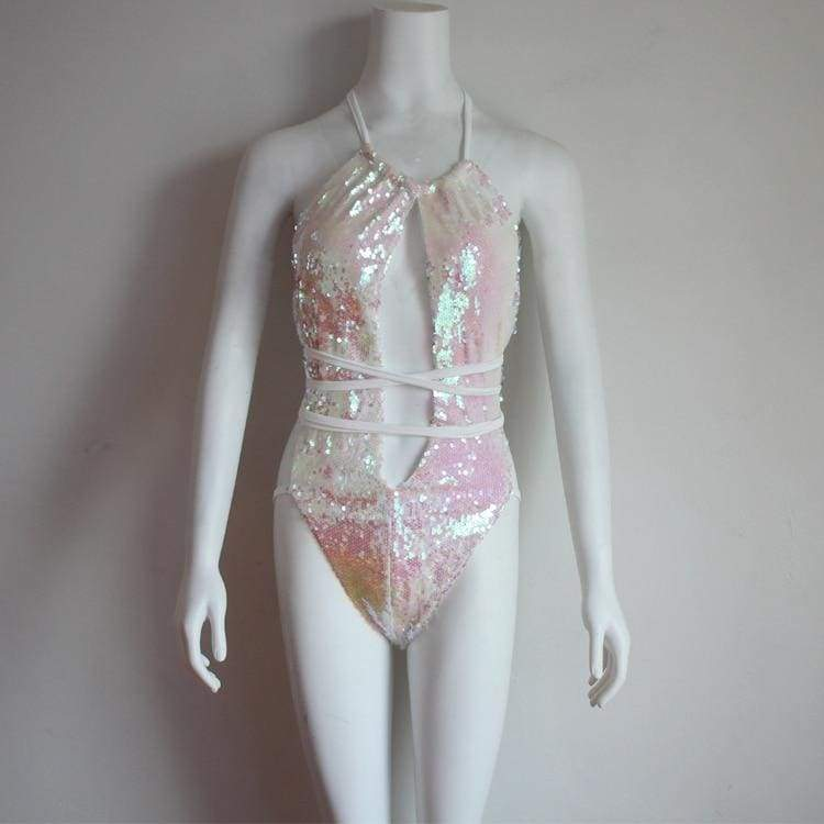 Sequin Mesh Sexy Thong Swimwear - as picture Pink / S - One-Piece Suits