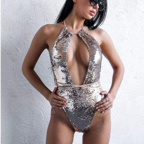 Sequin Mesh Sexy Thong Swimwear - as picture silvery / M - One-Piece Suits