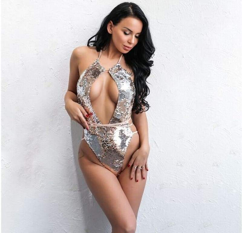 Sequin Mesh Sexy Thong Swimwear - One-Piece Suits