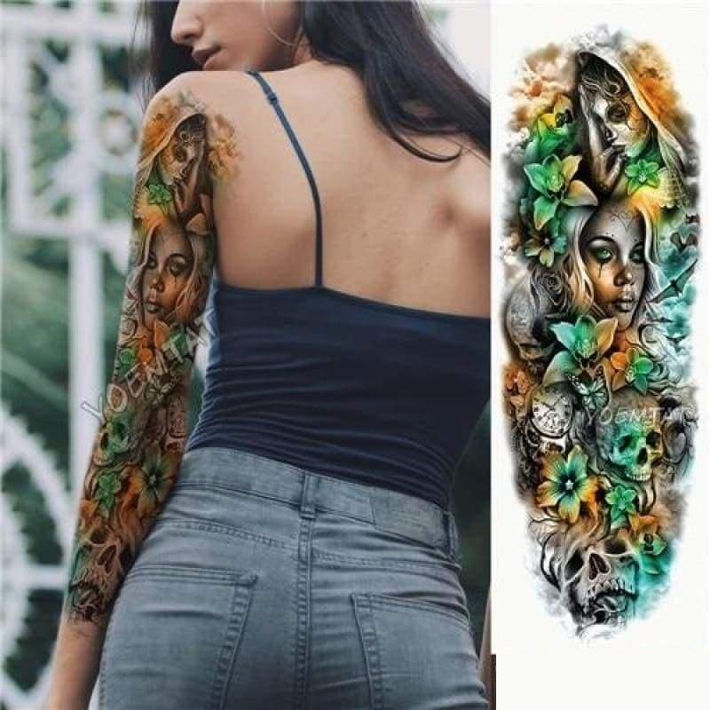 Sexy Large Arm Sleeve Tattoo - 02 - Temporary Tattoos