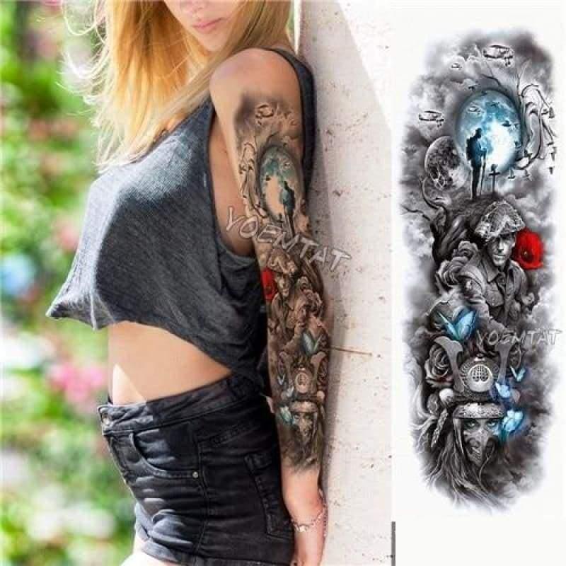 Sexy Large Arm Sleeve Tattoo - 04 - Temporary Tattoos