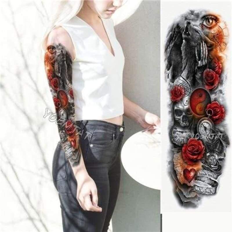 Sexy Large Arm Sleeve Tattoo - 06 - Temporary Tattoos