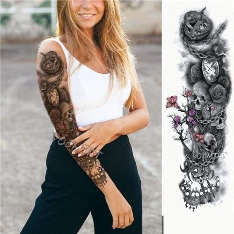 Sexy Large Arm Sleeve Tattoo - 07 - Temporary Tattoos