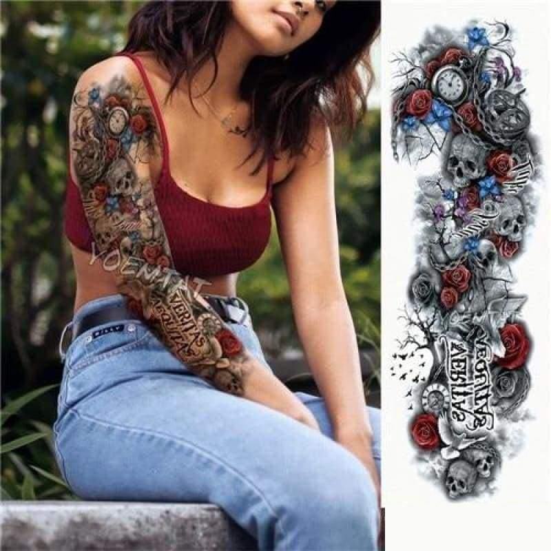 Sexy Large Arm Sleeve Tattoo - 08 - Temporary Tattoos