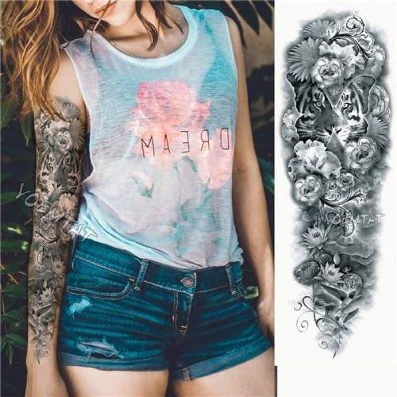 Sexy Large Arm Sleeve Tattoo - 10 - Temporary Tattoos