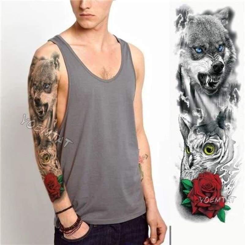 Sexy Large Arm Sleeve Tattoo - 12 - Temporary Tattoos