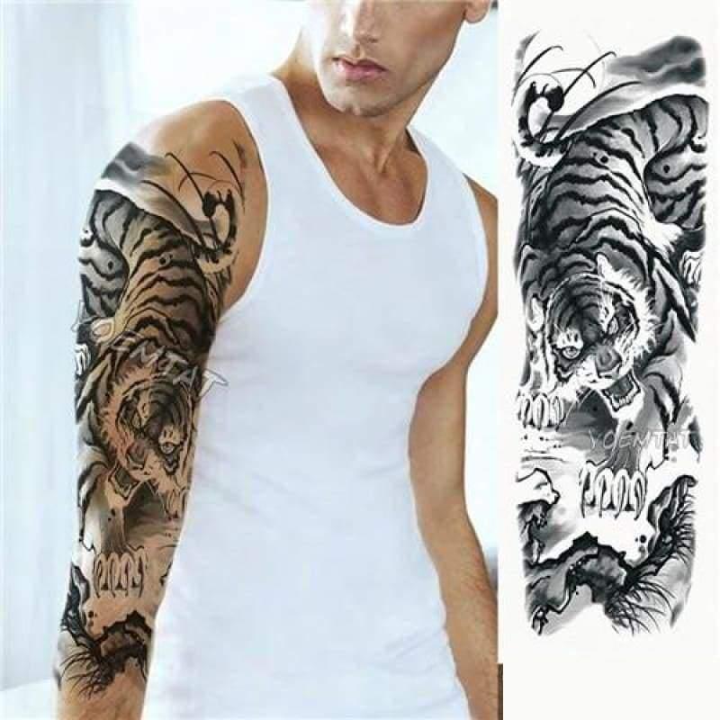 Sexy Large Arm Sleeve Tattoo - 14 - Temporary Tattoos