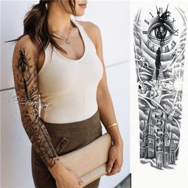 Sexy Large Arm Sleeve Tattoo - 16 - Temporary Tattoos