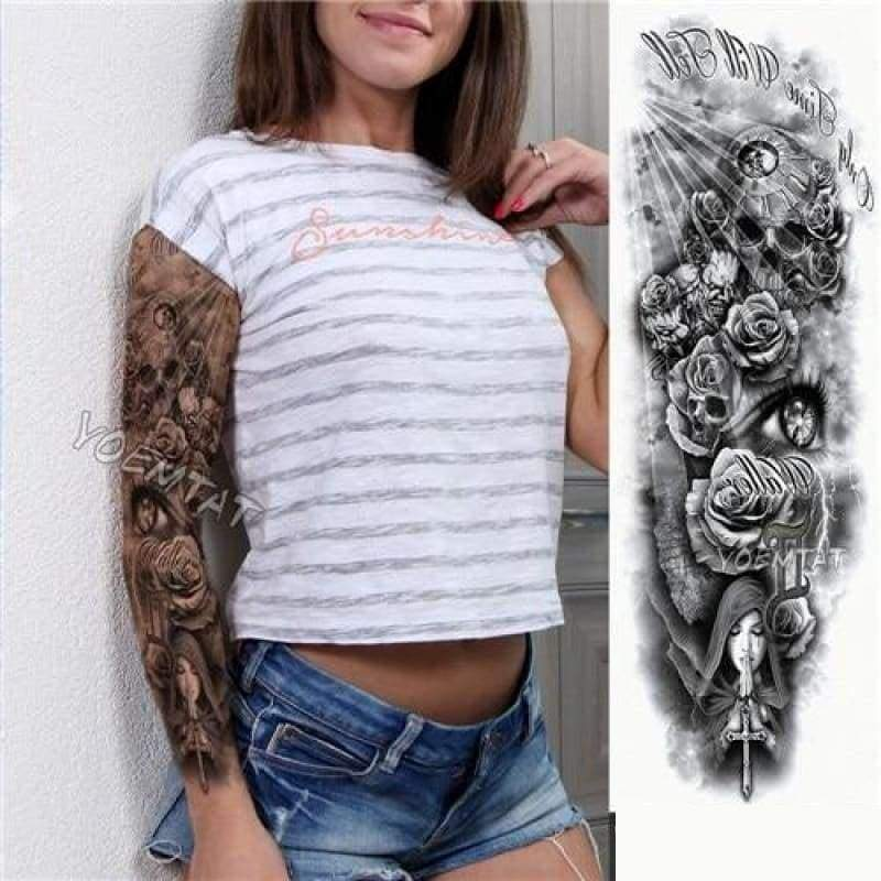 Sexy Large Arm Sleeve Tattoo - 19 - Temporary Tattoos