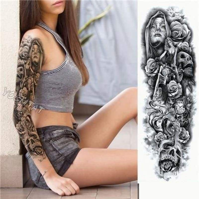 Sexy Large Arm Sleeve Tattoo - 20 - Temporary Tattoos