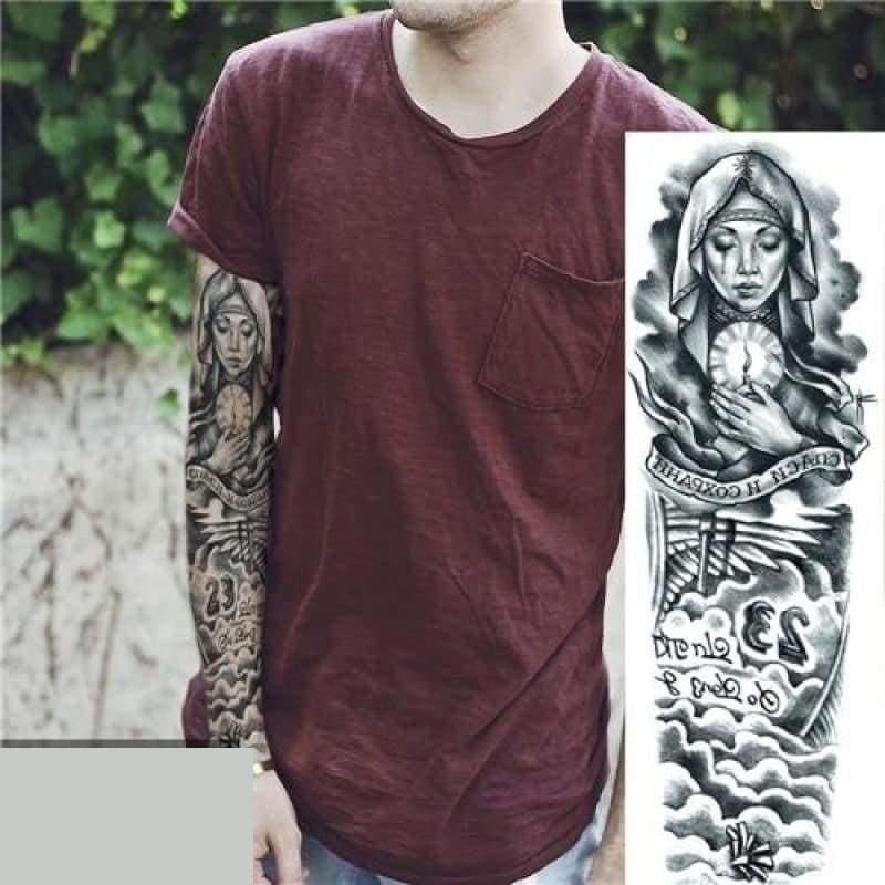 Sexy Large Arm Sleeve Tattoo - 21 - Temporary Tattoos