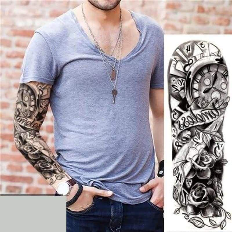 Sexy Large Arm Sleeve Tattoo - 23 - Temporary Tattoos