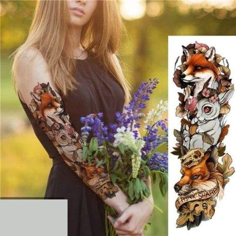 Sexy Large Arm Sleeve Tattoo - 24 - Temporary Tattoos