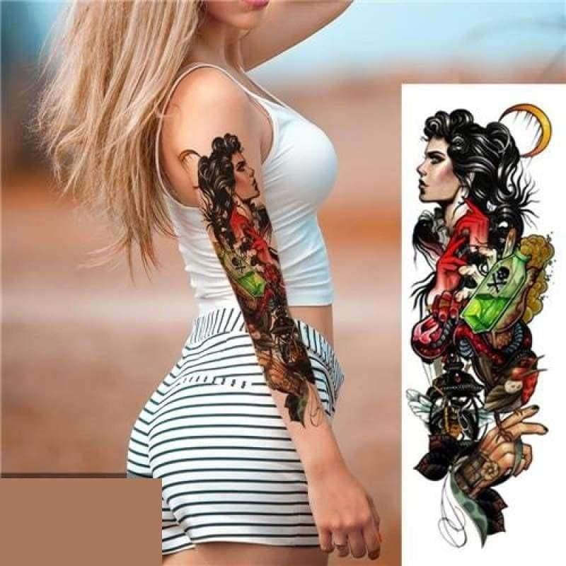 Sexy Large Arm Sleeve Tattoo - 25 - Temporary Tattoos