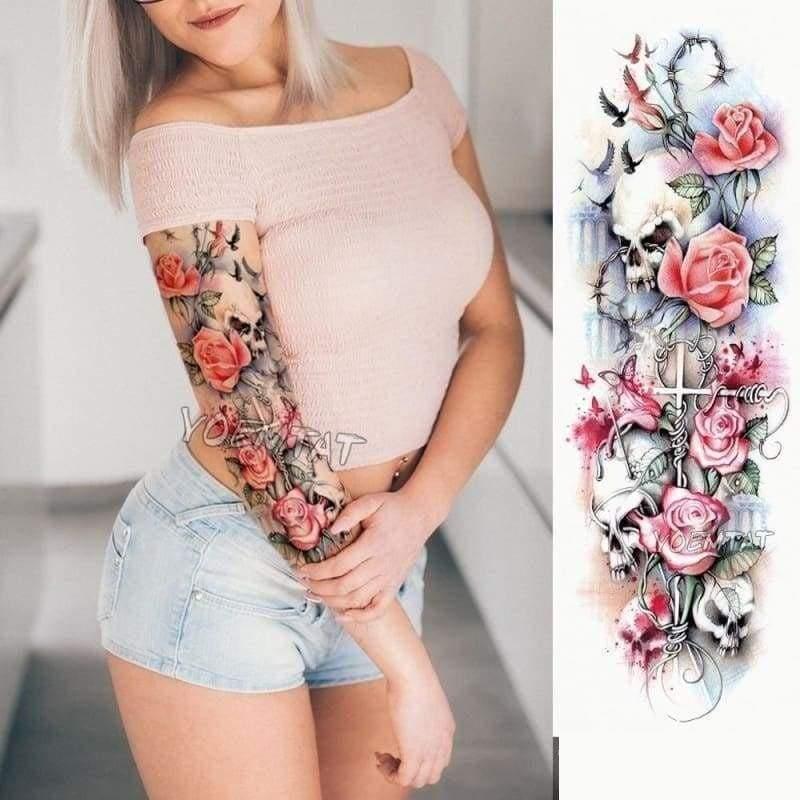 Sexy Large Arm Sleeve Tattoo - Temporary Tattoos