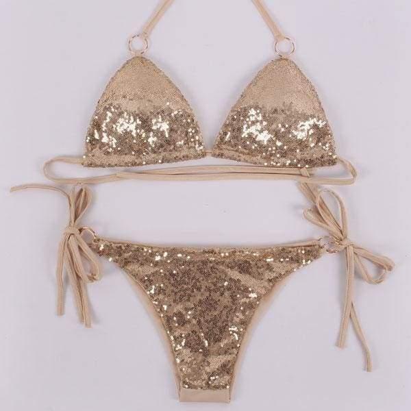 Sexy Sequins Bikini Set Halter Swimsuit - Gold / L - Bikinis Set