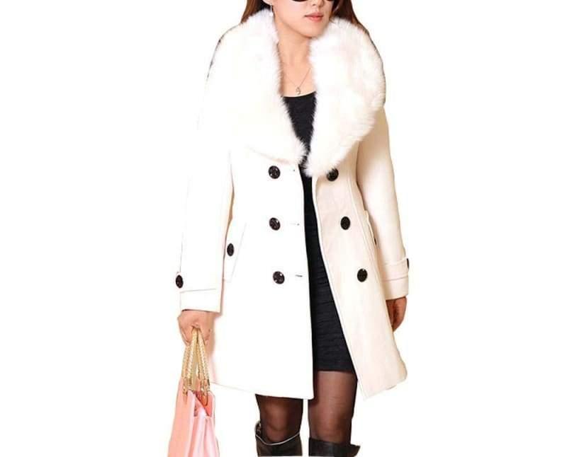 Amazing Slim Big Fur Collar Warm Coat - beige / XXXL - Wool & Blends