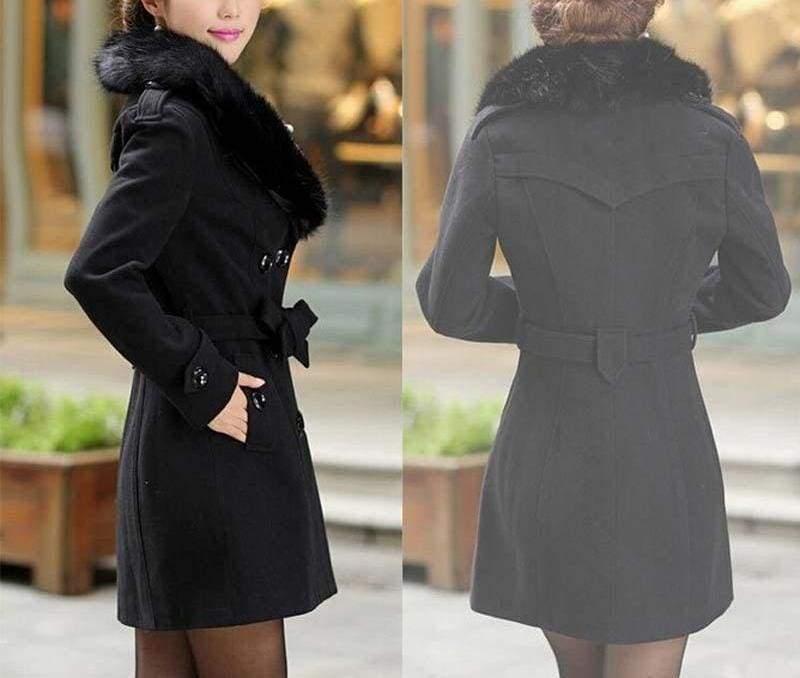 Amazing Slim Big Fur Collar Warm Coat - black / XXXL - Wool & Blends