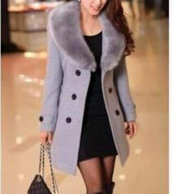 Amazing Slim Big Fur Collar Warm Coat - gray / XXXL - Wool & Blends