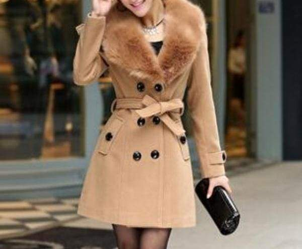 Amazing Slim Big Fur Collar Warm Coat - khaki / XXXL - Wool & Blends