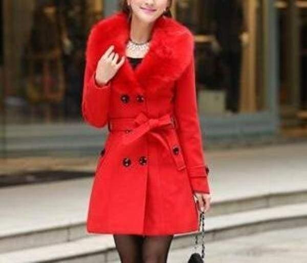 Amazing Slim Big Fur Collar Warm Coat - red / XXXL - Wool & Blends