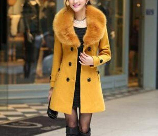 Amazing Slim Big Fur Collar Warm Coat - yellow / XXXL - Wool & Blends