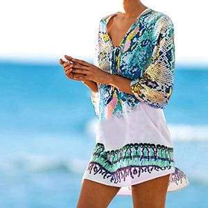 Snakeskin Beach Cover Up - Blue as pic / One Size - Cover-Ups