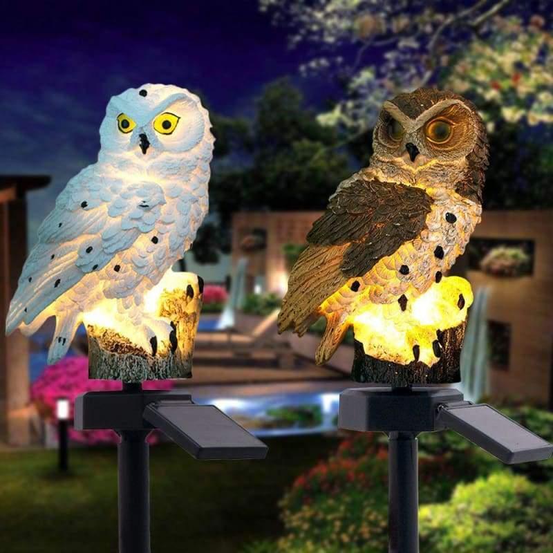 Solar Owl Garden Light - White - Solar Lamps