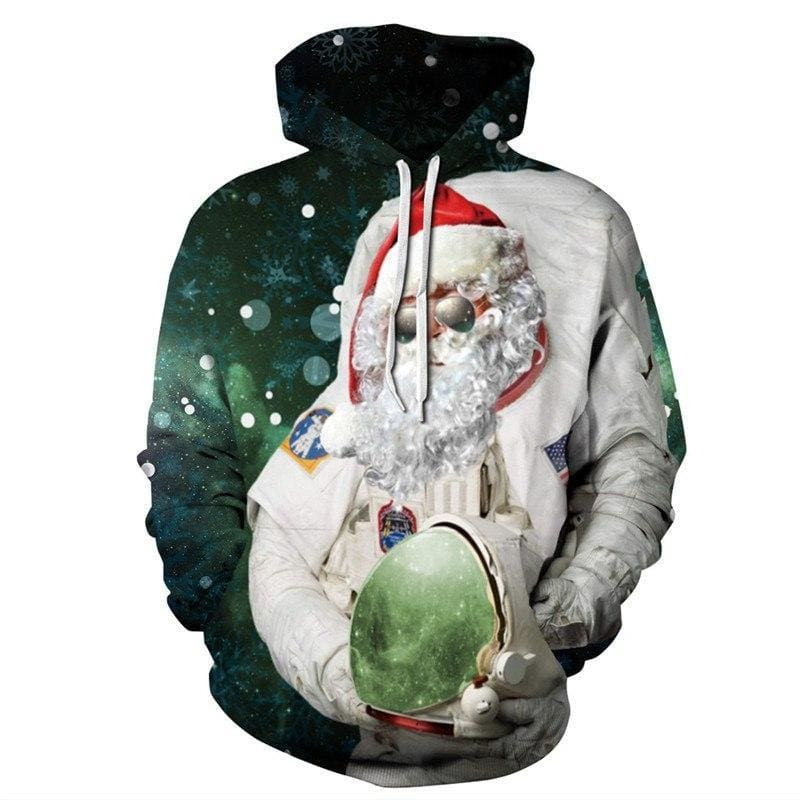 Space Astronaut Santa Hooded Sweatshirt - Christmas Hoodies
