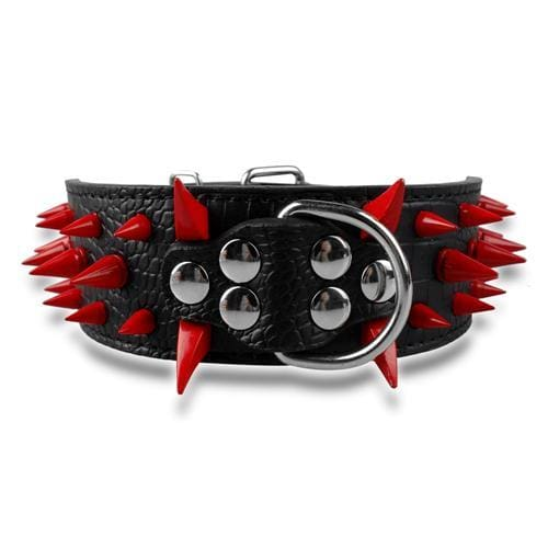 Spiked Studded Leather Dog Collar - Black Red Spike / S - Collars