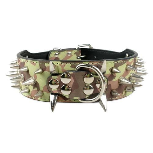 Spiked Studded Leather Dog Collar - Camouflage / S - Collars