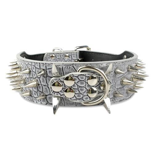 Spiked Studded Leather Dog Collar - Grey / S - Collars