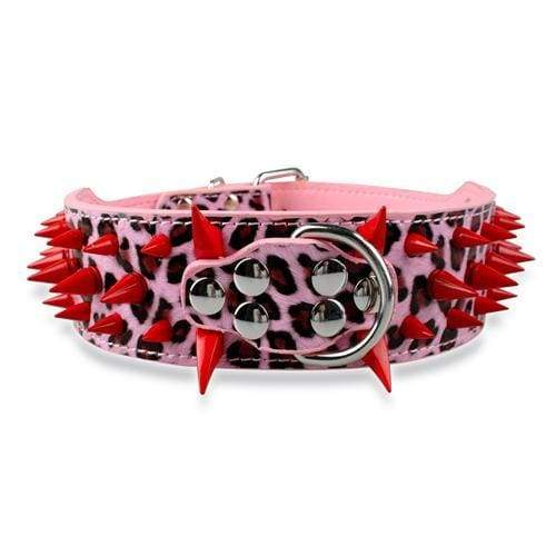Spiked Studded Leather Dog Collar - Pink Red Spike / S - Collars