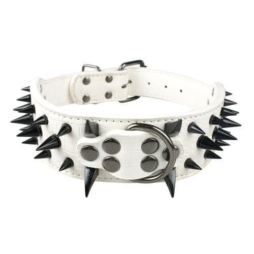 Spiked Studded Leather Dog Collar - White Black Spike / S - Collars