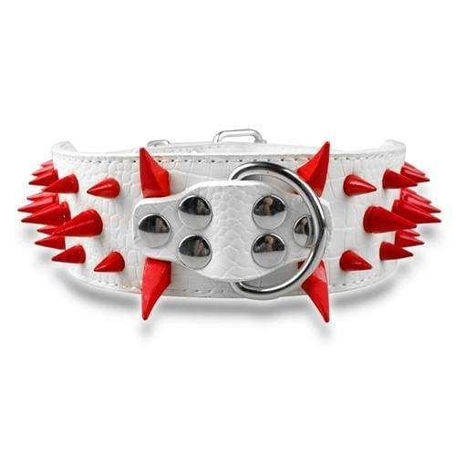 Spiked Studded Leather Dog Collar - White Red Spike / S - Collars