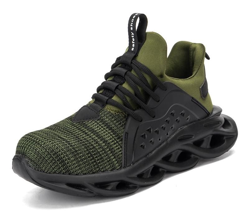Steel Toe Cap Men Safety Shoes - Green / 5 - Safety Shoes