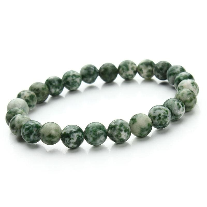 Summer Style Natural Stone Beads Bracelet - green dot - Charm Bracelets