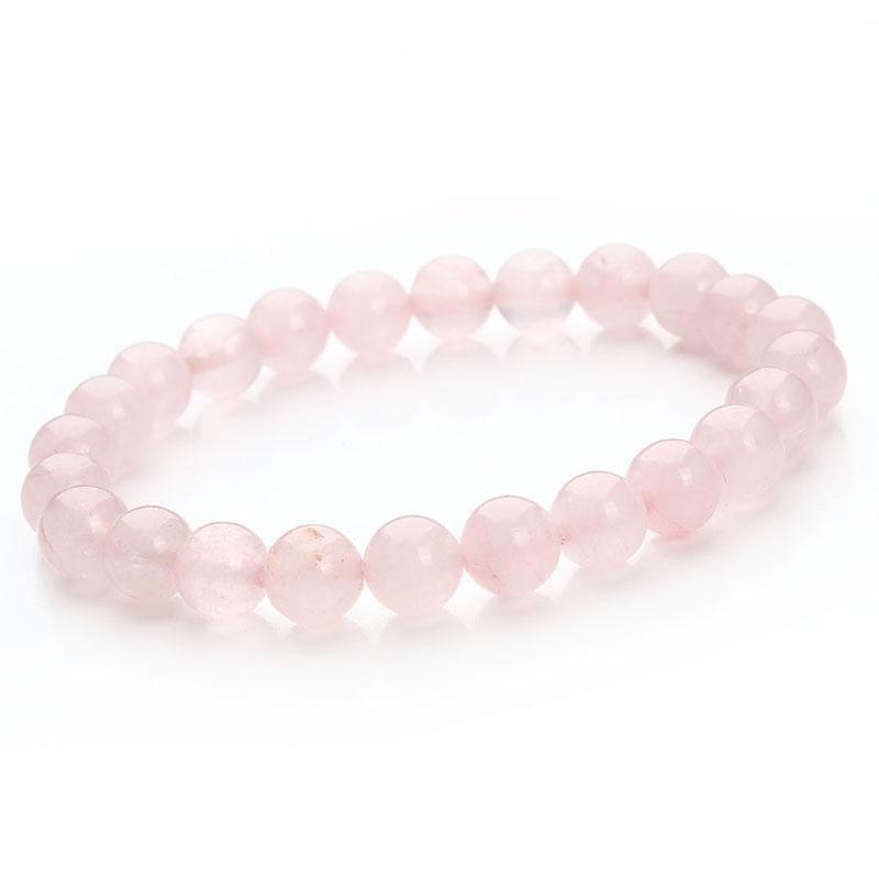 Summer Style Natural Stone Beads Bracelet - Pink Quartz - Charm Bracelets