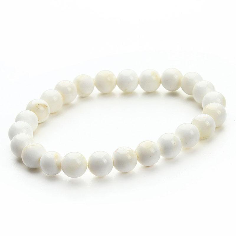 Summer Style Natural Stone Beads Bracelet - White - Charm Bracelets