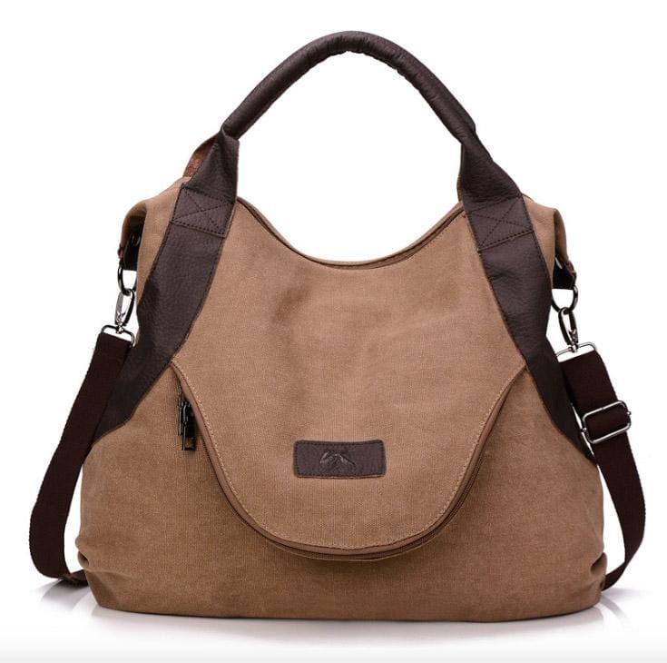 The canvas tote handbag - coffee large - Shoulder Bags