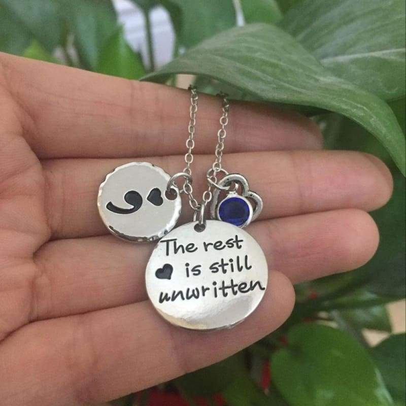 The rest is still unwritten pendant - January - Pendant Necklaces