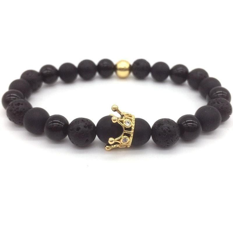 Trendy Lava Stone Imperial Crown And Helmet Charm Bracelet - 10 - Charm Bracelets