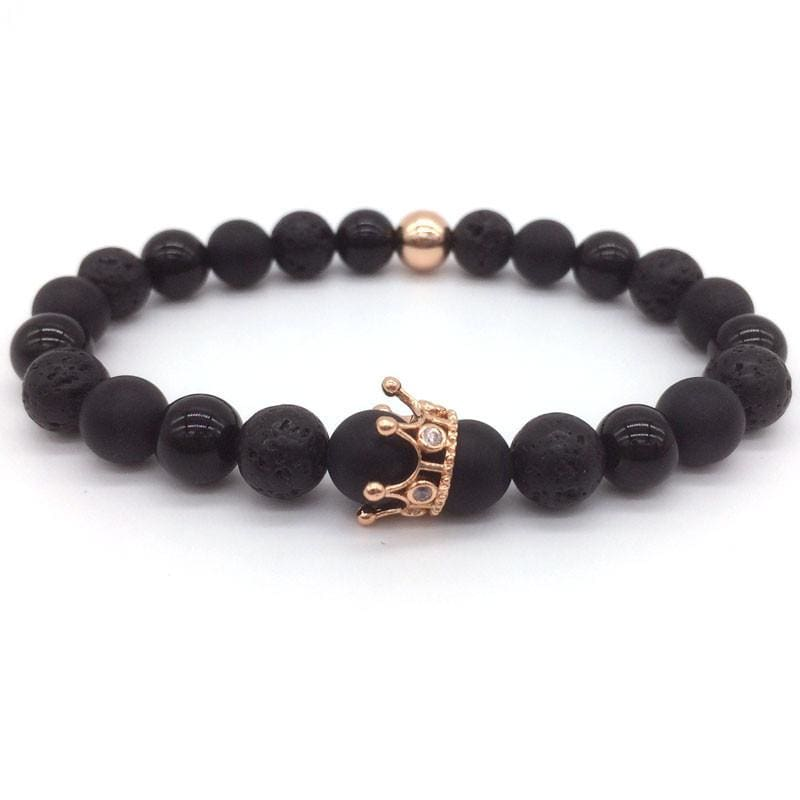 Trendy Lava Stone Imperial Crown And Helmet Charm Bracelet - 11 - Charm Bracelets