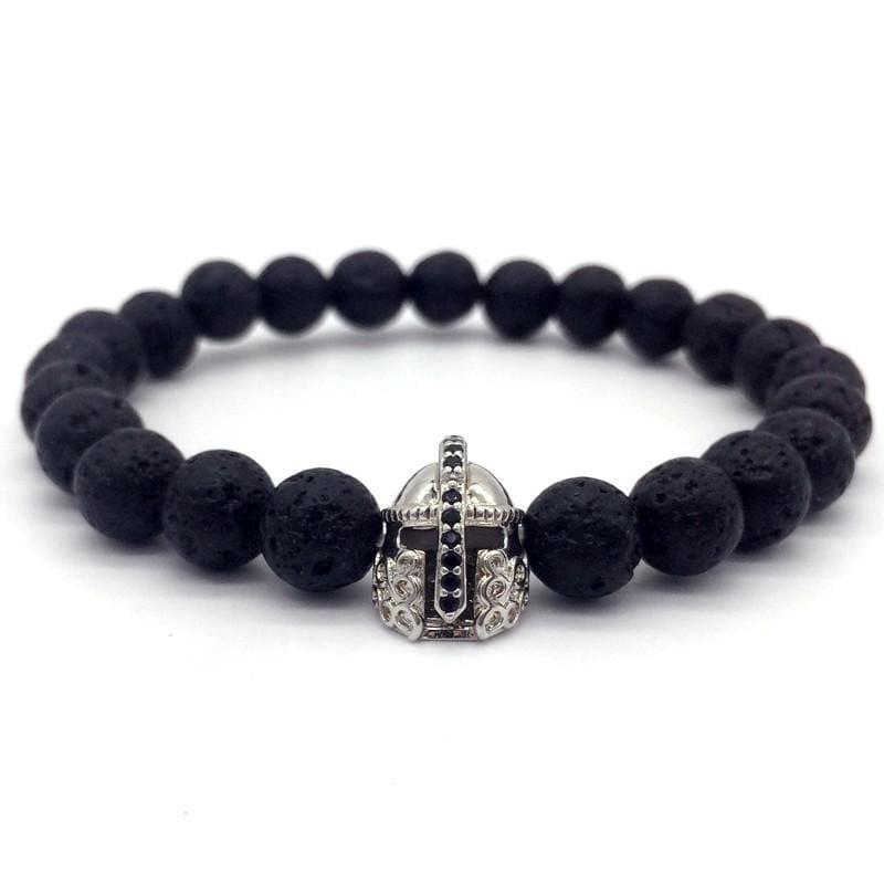 Trendy Lava Stone Imperial Crown And Helmet Charm Bracelet - 1 - Charm Bracelets