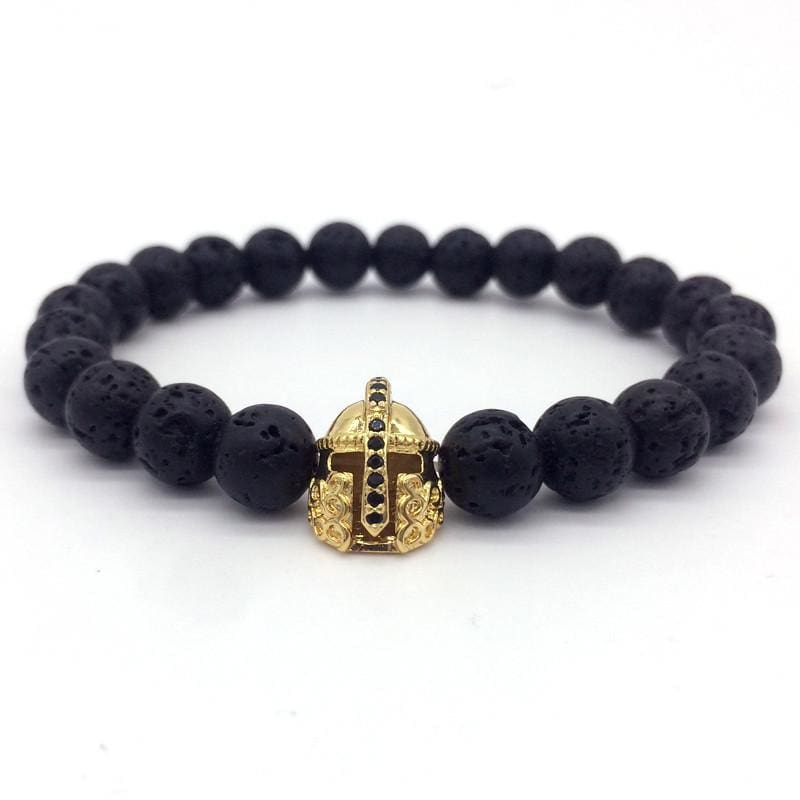 Trendy Lava Stone Imperial Crown And Helmet Charm Bracelet - 2 - Charm Bracelets